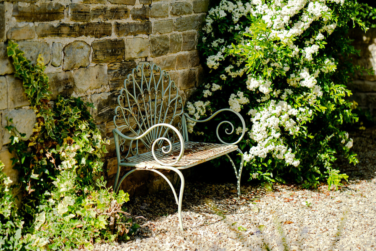 Garden bench. garden photographer Leeds