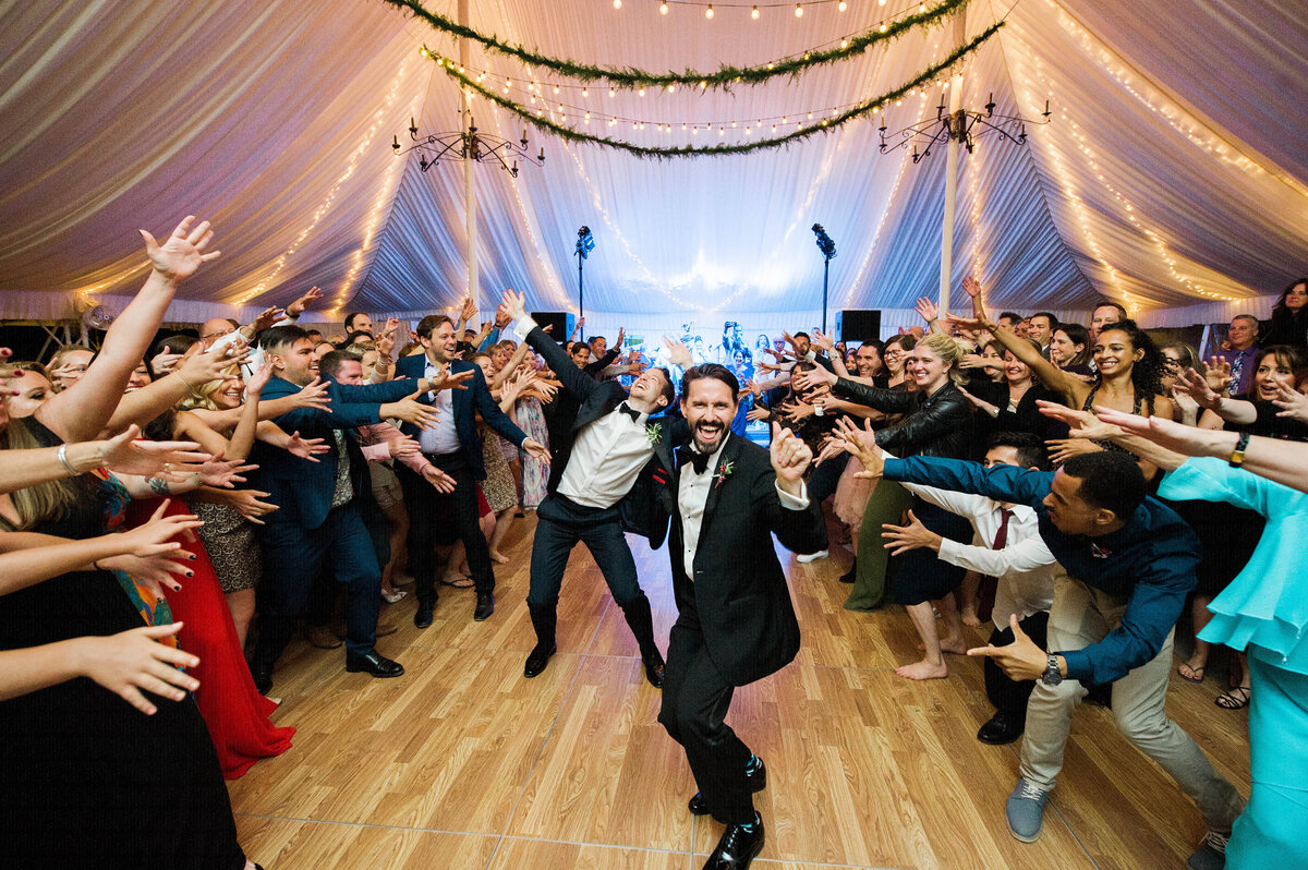 Same sex couple dances at on their wedding night