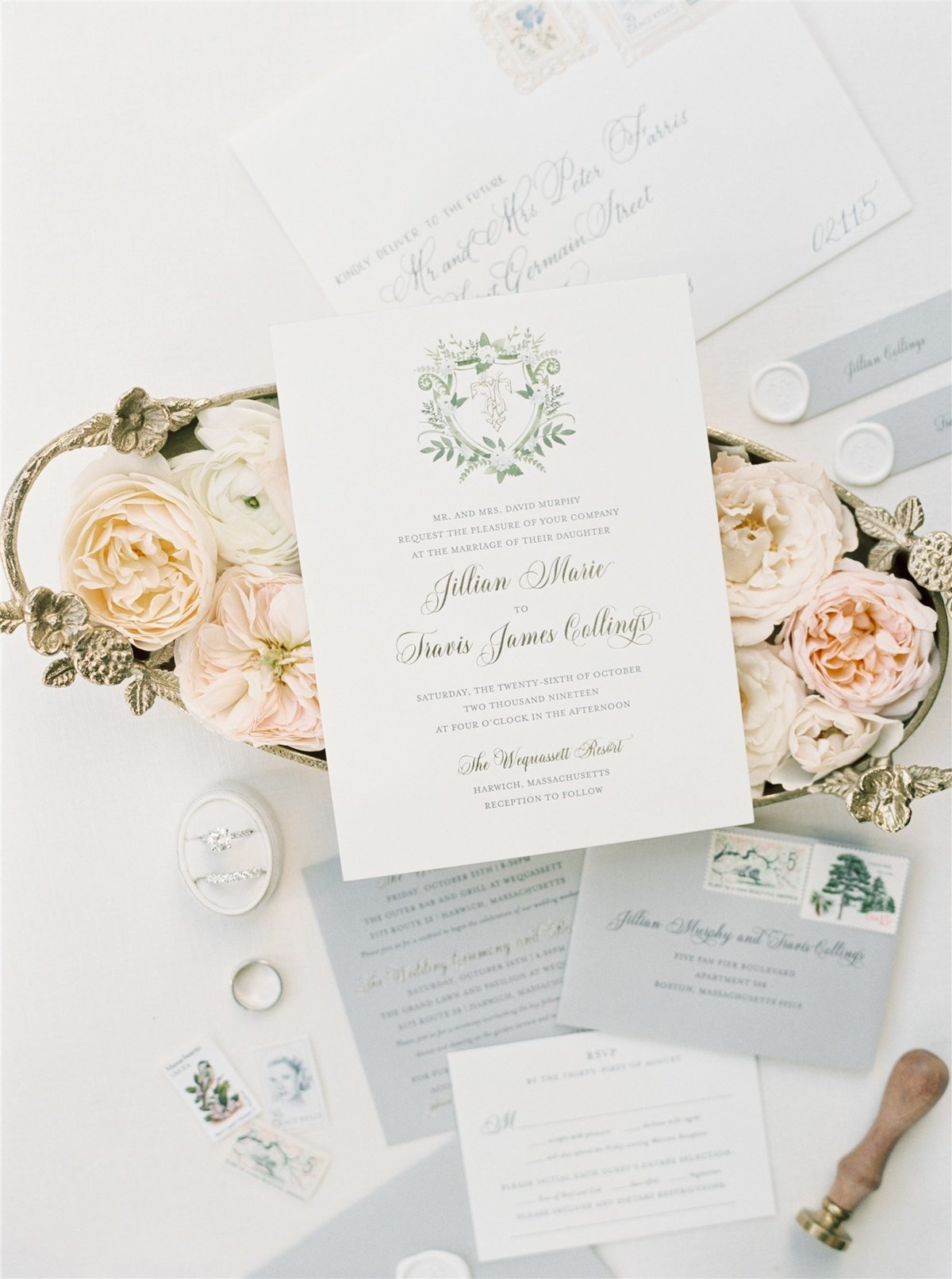 Letterpress wedding invitation with gray envelopes for a Cape Cod Wedding by luxury Cape Cod wedding planner and designer Always Yours Events