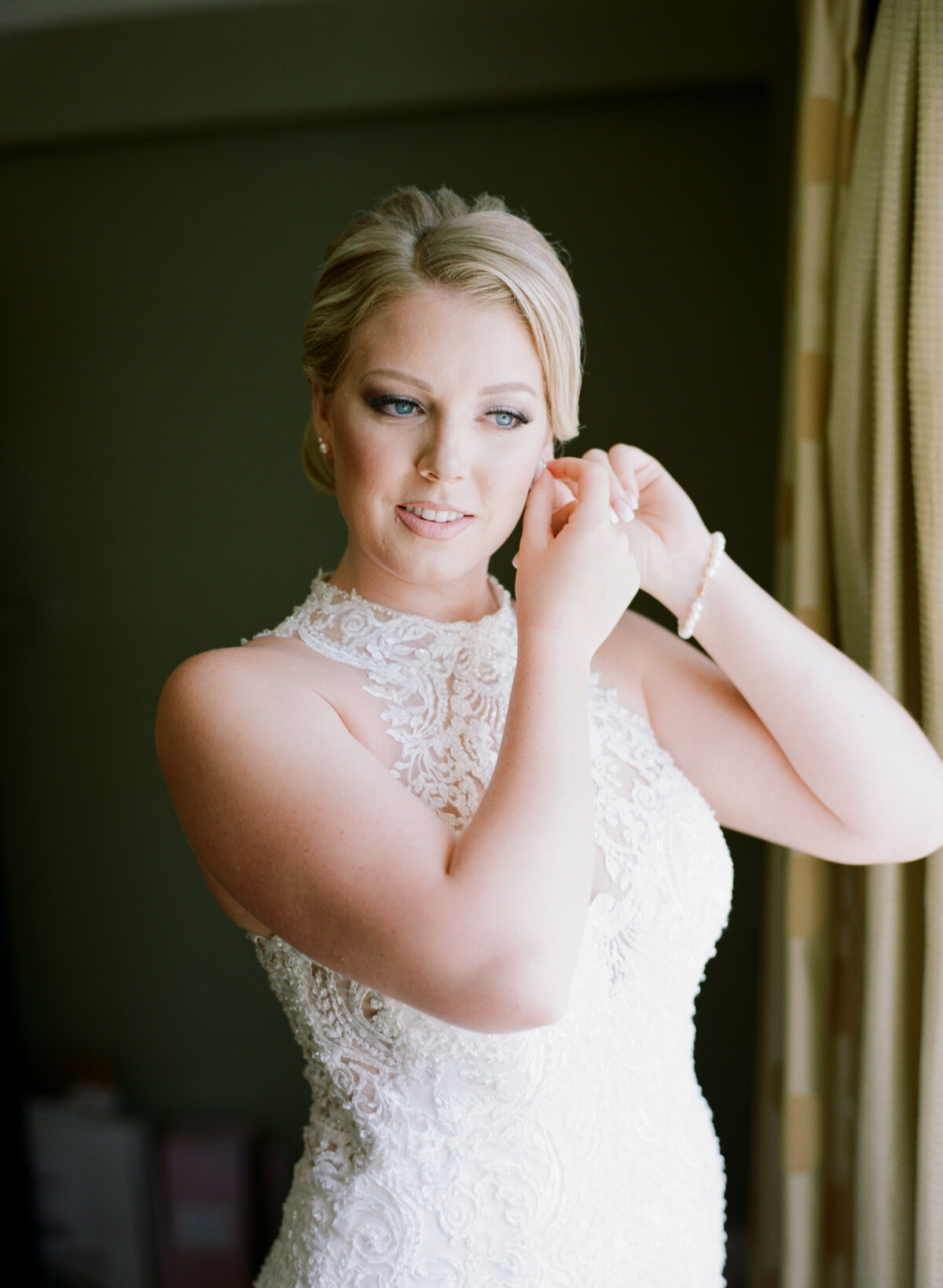 Bridal portrait shot, getting ready on wedding day