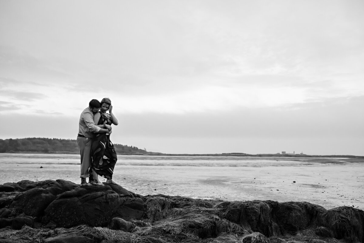 Engagement session out on the rocks of Kennebunkport Maine