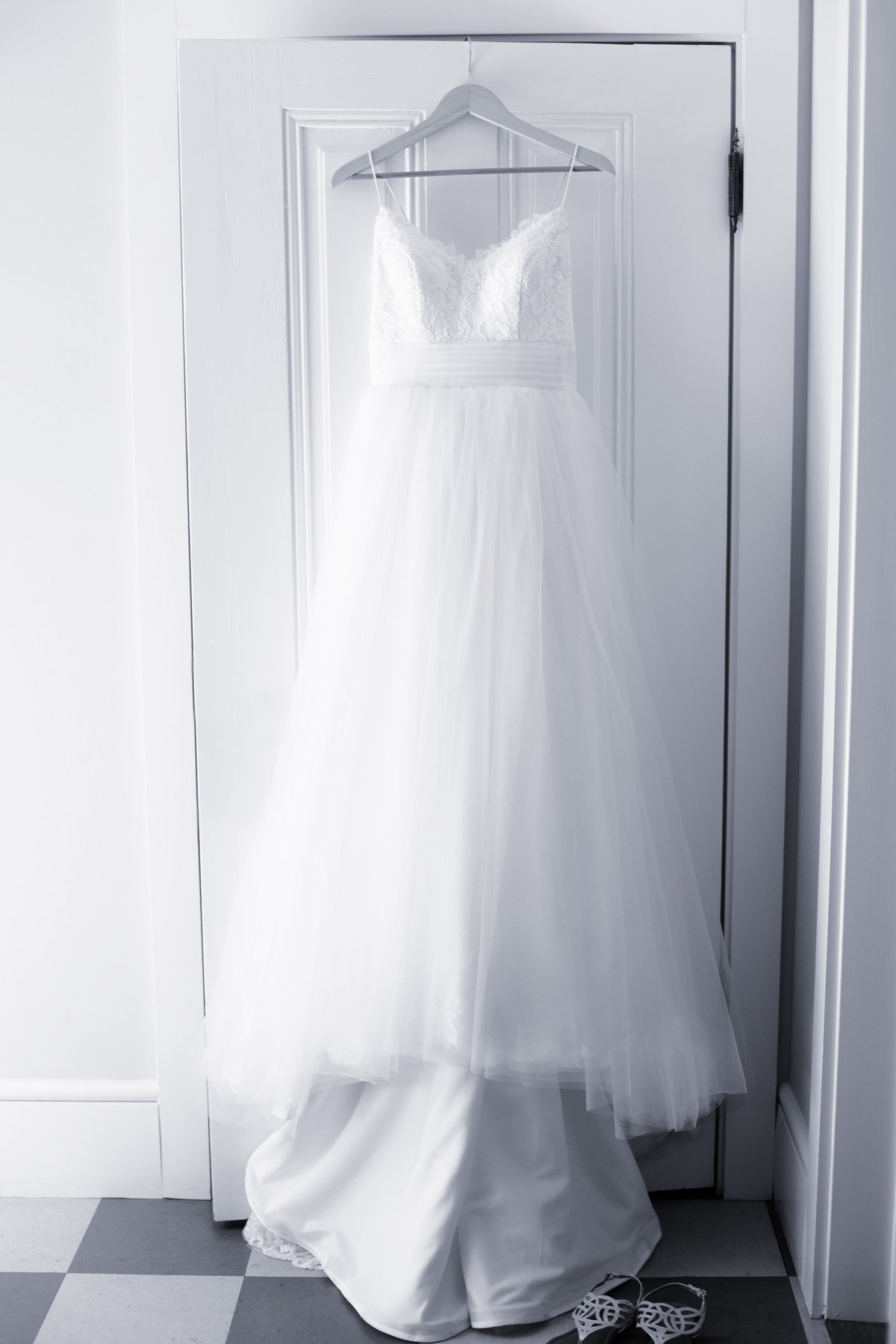 portrait of wedding dress, black and white wedding dress