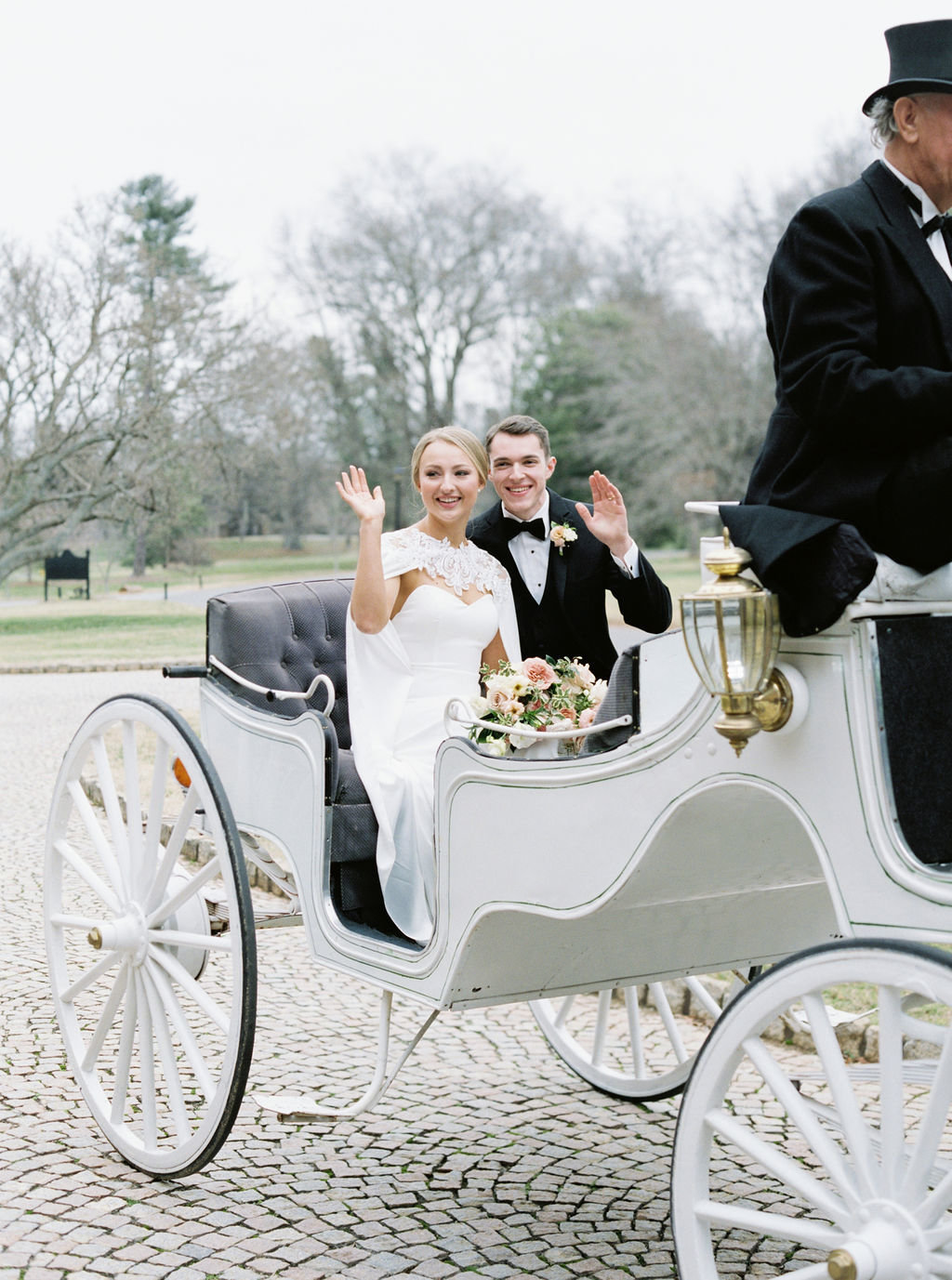 Graylyn estate wedding with horse and carriage