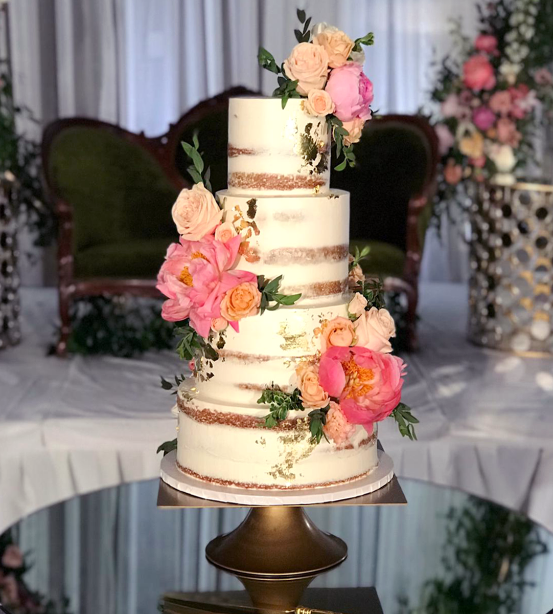 Whippt Kitchen - Semi Naked gold foil floral wedding cake2