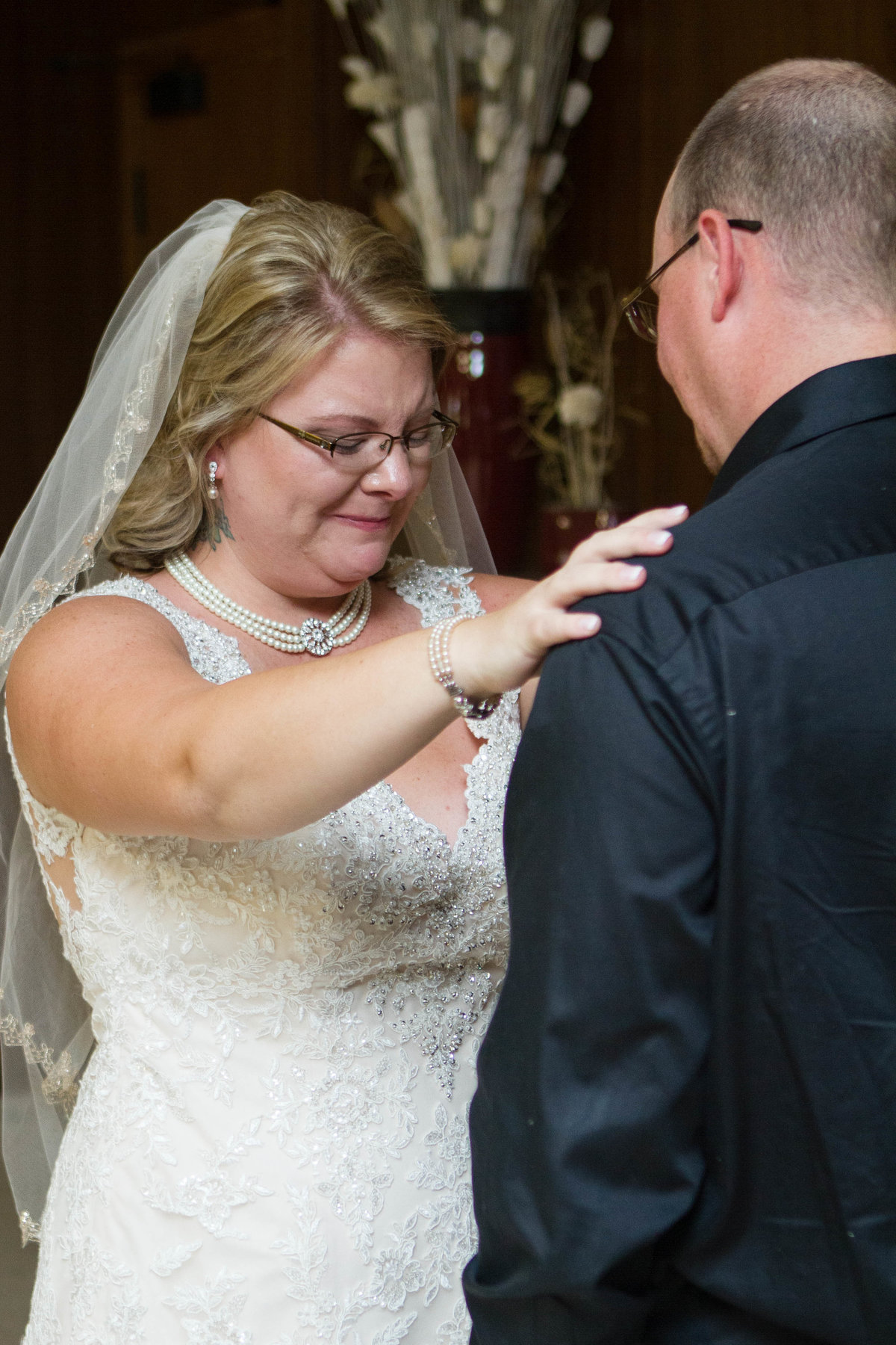bride emotional with brother
