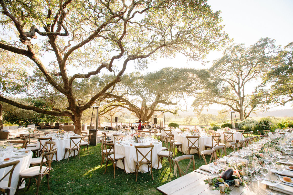 Outdoor wedding reception at Beltane Ranch in Sonoma.