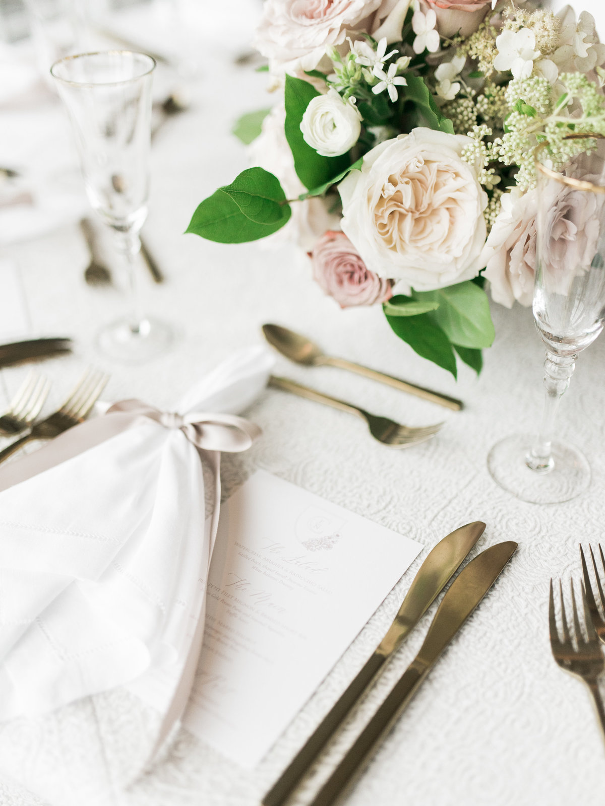 Romantic place setting with La Tavola linens and gold flatware by creative wedding planner and designer Always Yours Events