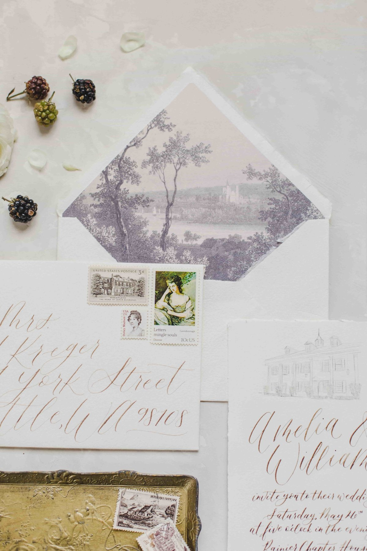 seattle calligraphy romantic stationery invitations-min