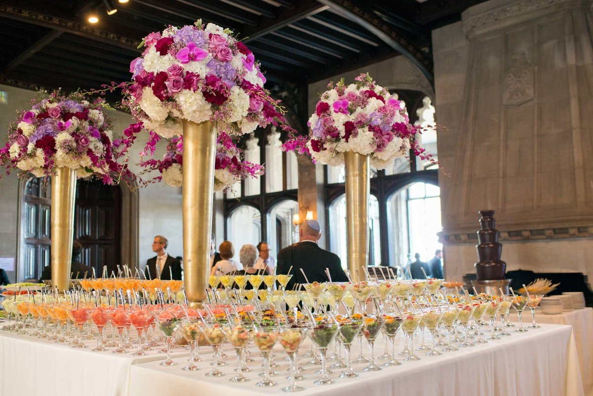 Floral arrangements and hors d'oeuvres at Hempstead House