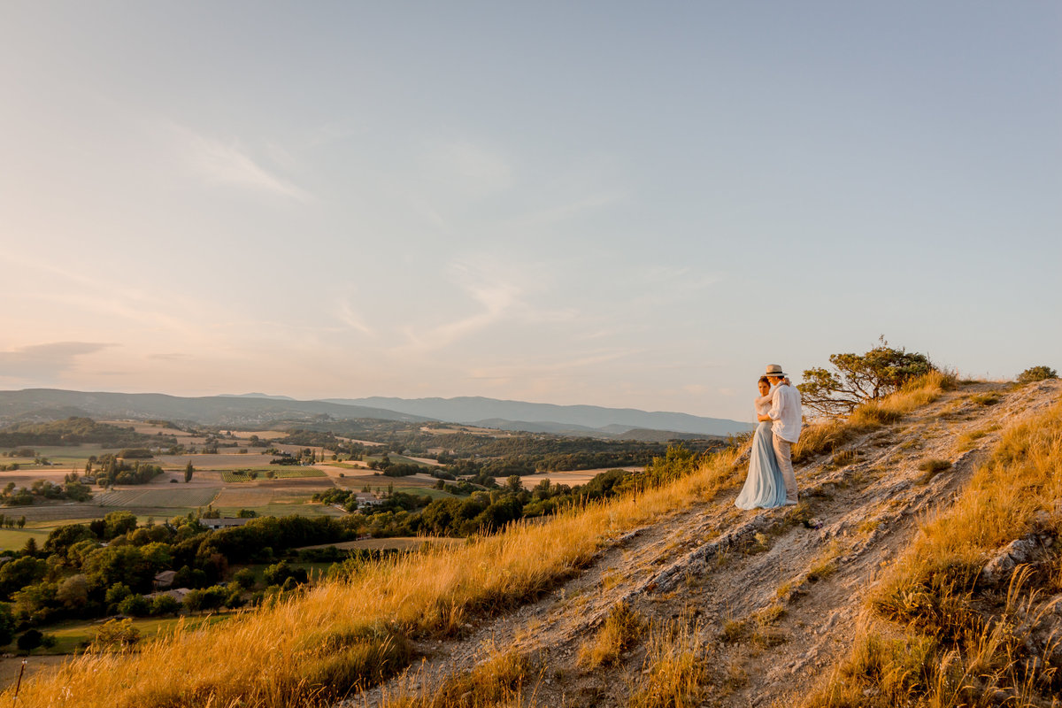 Provence in sunset, up on a hill, a bridal shoot overlooking the scenery