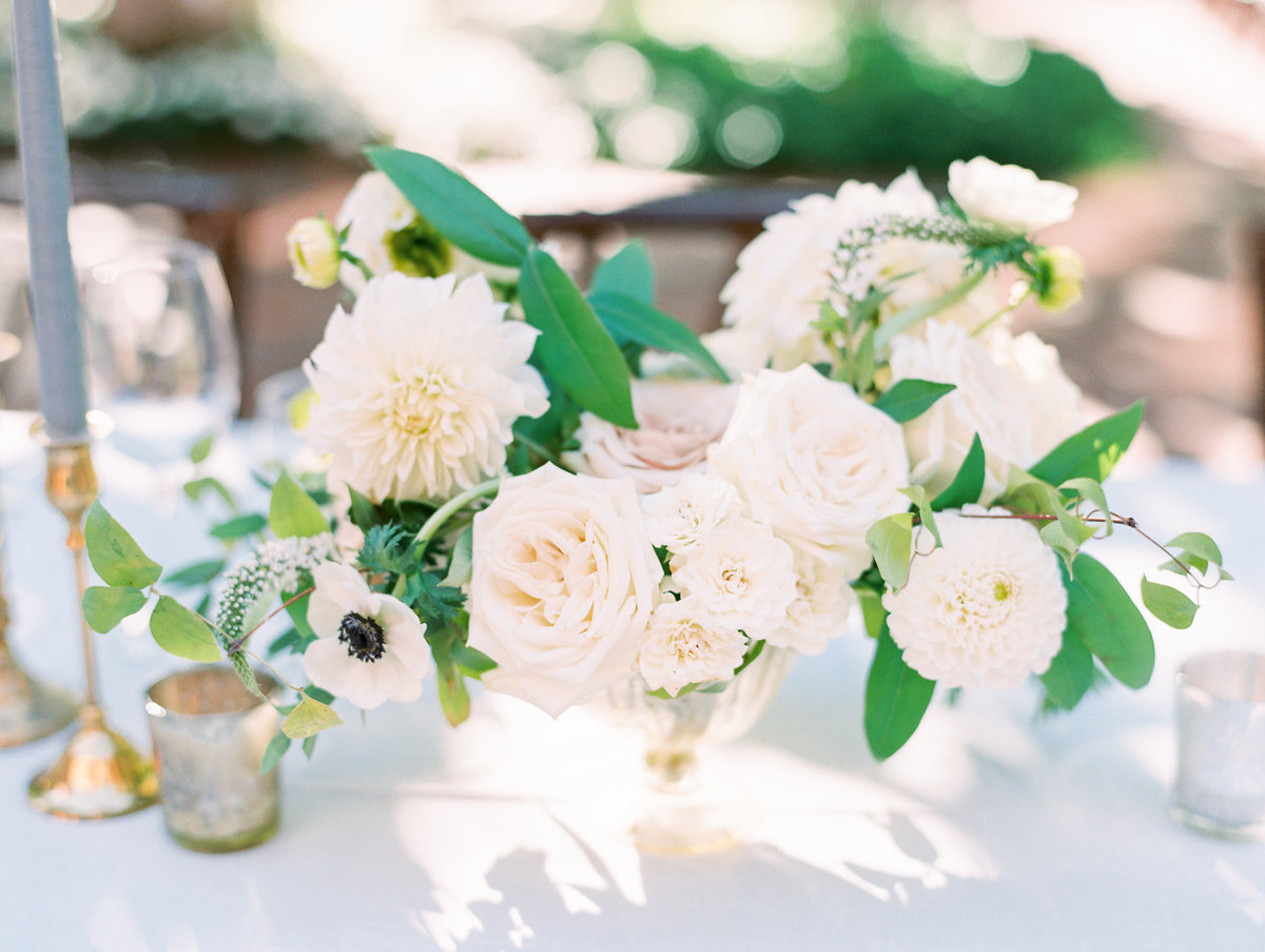 film photography of a floral centerpiece