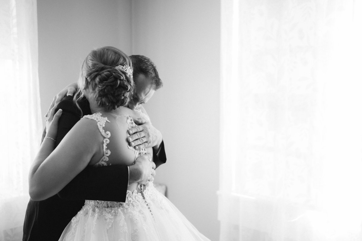 Emotive bride and father's first look at Historic Acres of Hershey - by Maria Silva Goyo Photography