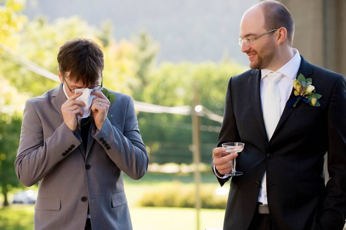 the best man cries while giving a toast to the groom