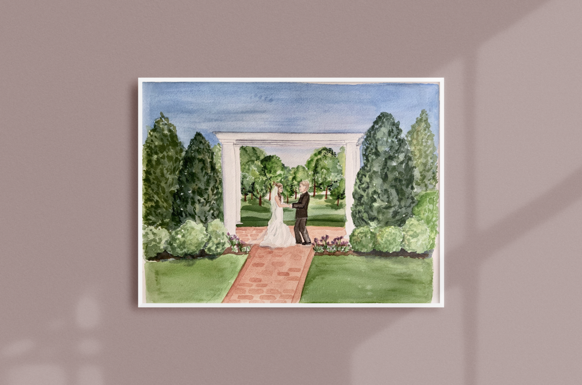 Boxwood Estate Mocksville NC Live Wedding Painting Ceremony Painting Watercolor