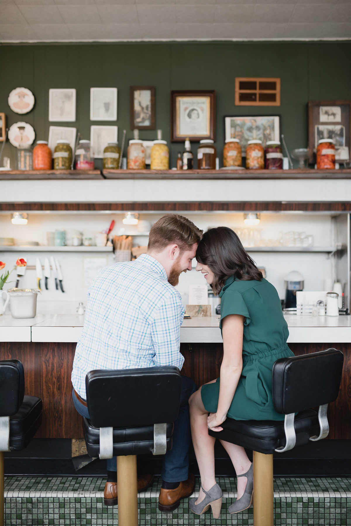 detroit michigan diner engagement photos
