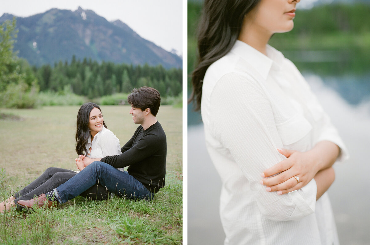 Fine Art Engagement Photography in Seattle - Mountain View Engagement - Gold Creek Pond - Film -2