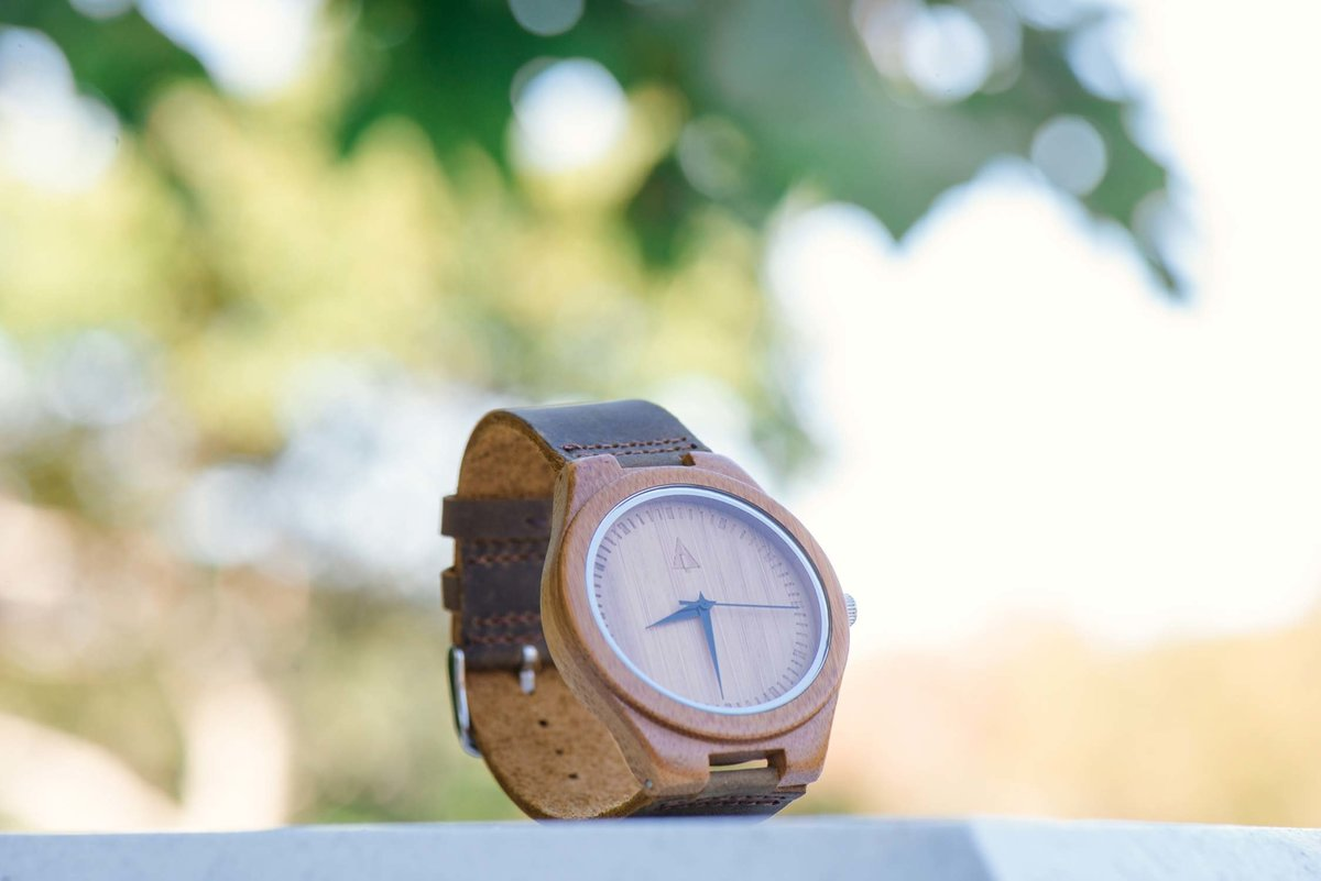 Groom's wooden watch at The Ram's Head Inn