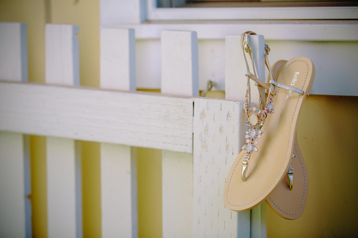 The bride's sandals at a wedding at Beltane Ranch, Sonoma.