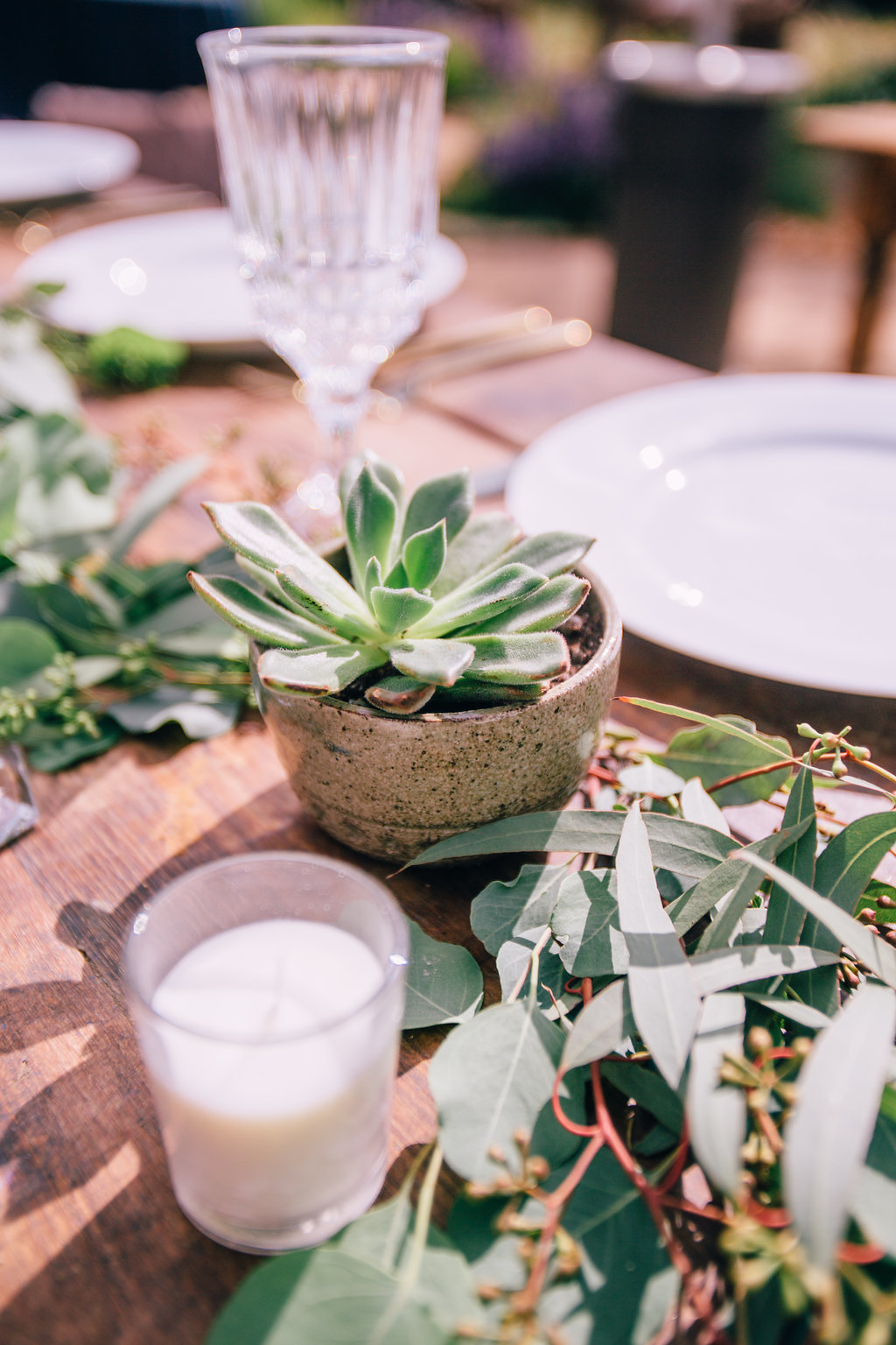 wedding reception table setting with succulent centerpiece at wedding in Ojai