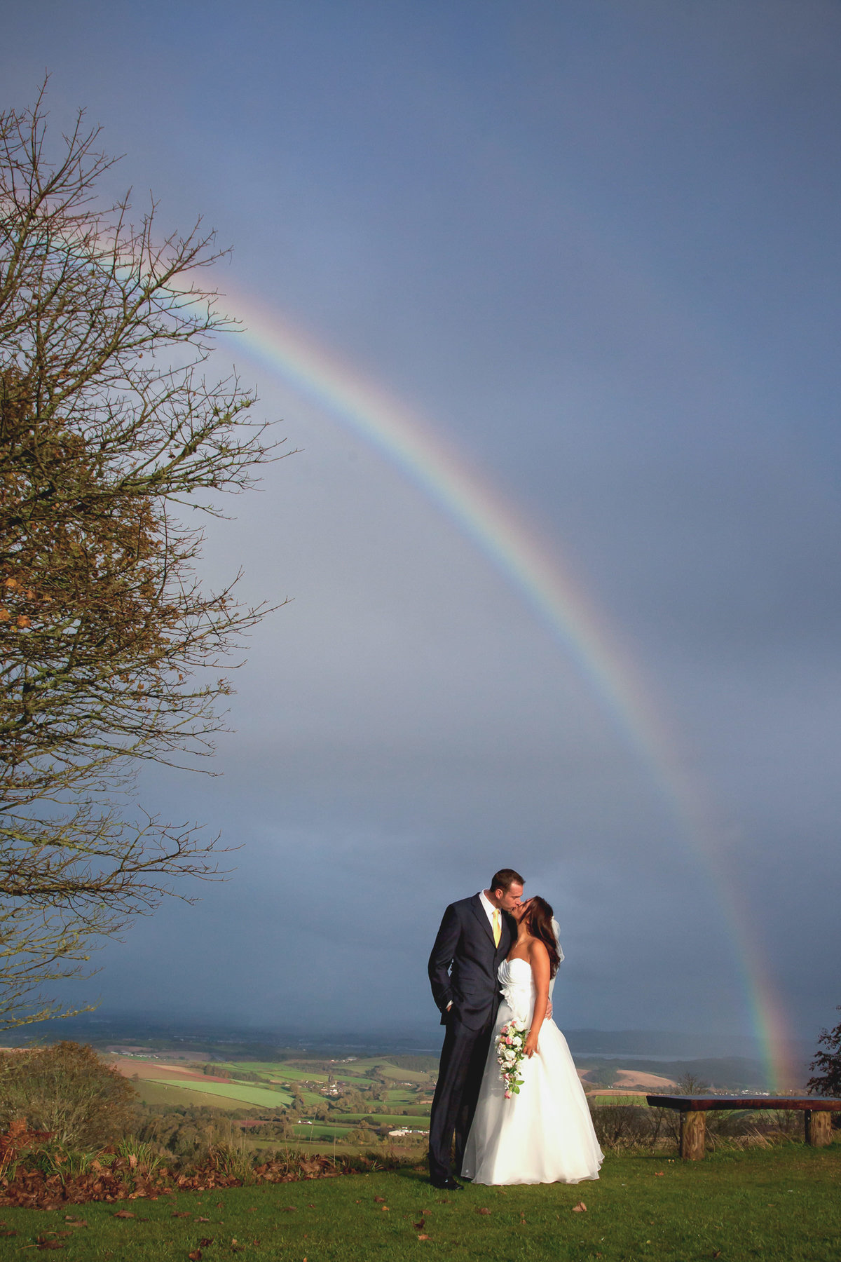 rainbow at wedding haldon