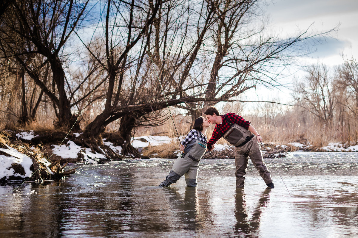 fly fishing engagement photos
