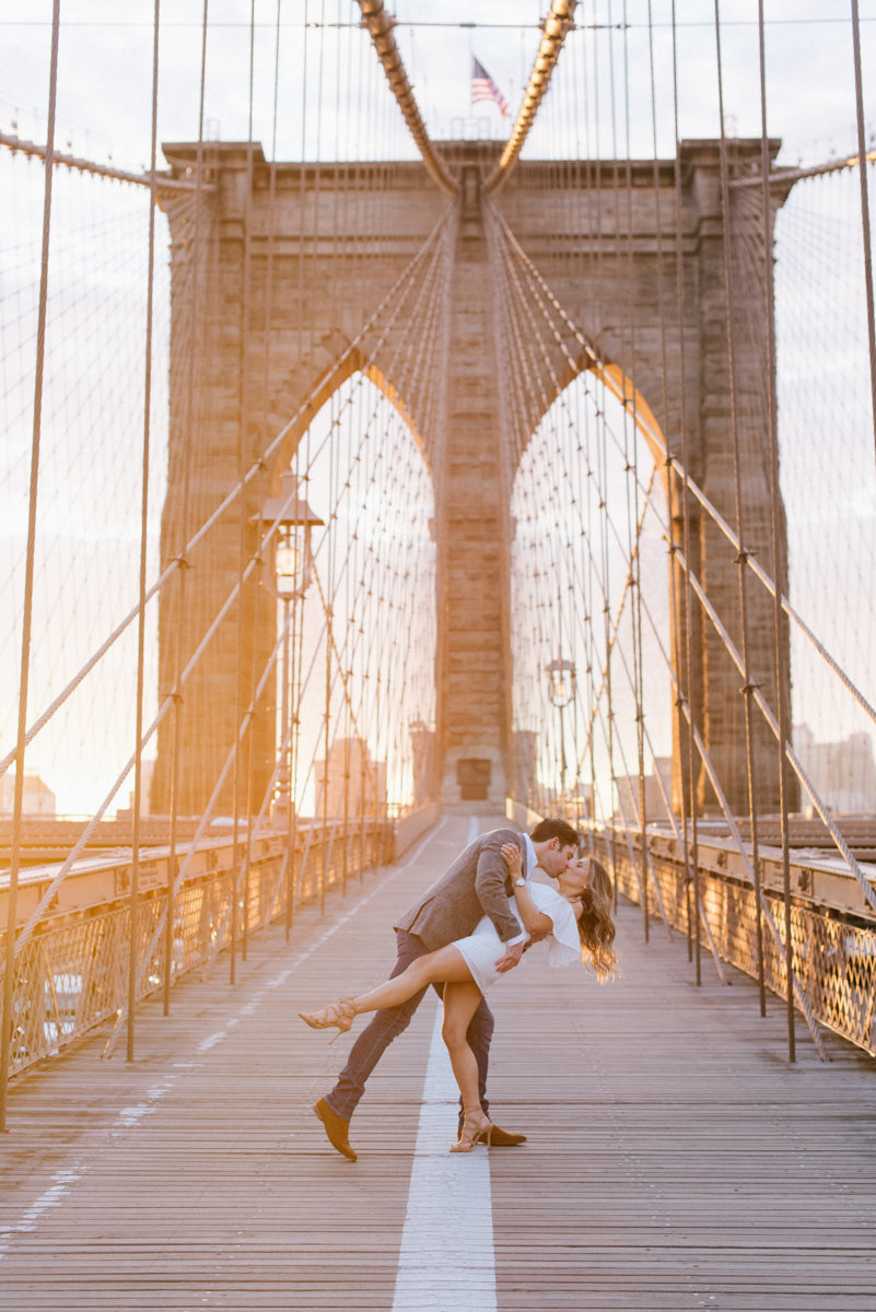 sunrise engagement session nyc dumbo brooklyn new york city golden hour love dramatic
