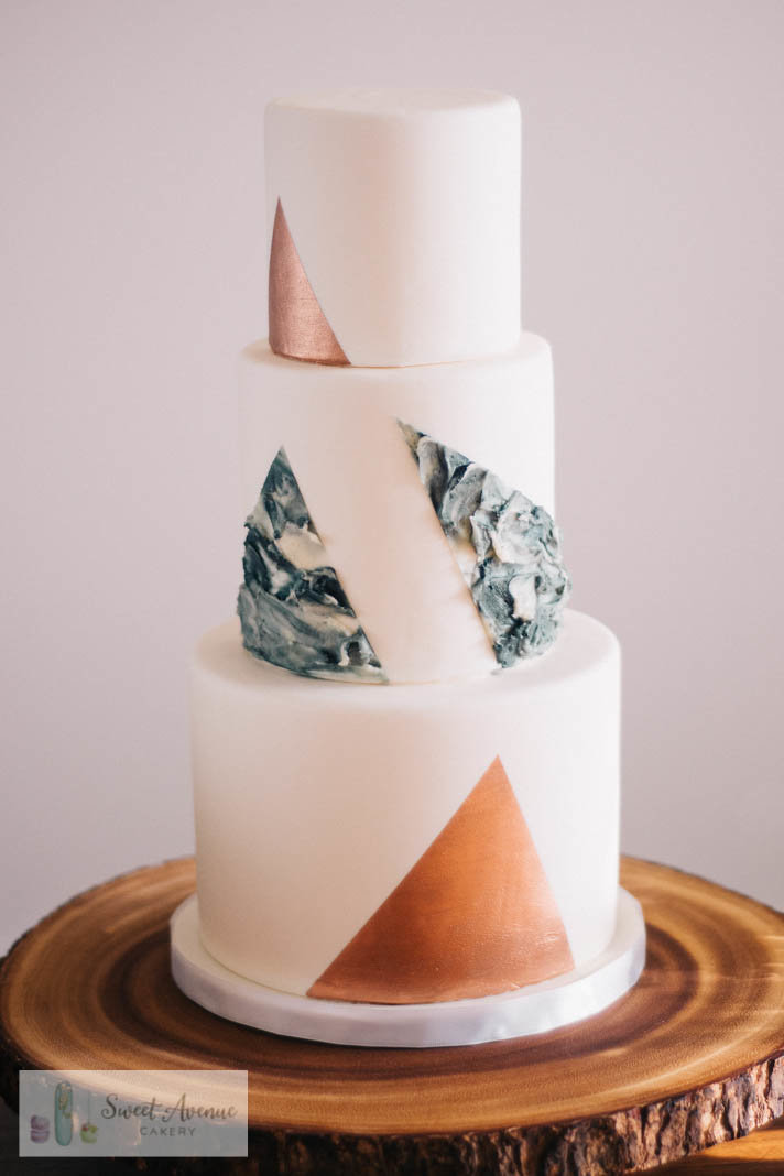 modern style white wedding cake with triangle graphics, Hamilton ON wedding cakes