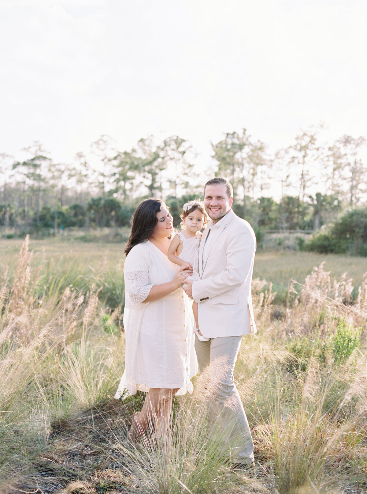 Natural Organic Field Earthy Neutral Family Session Jupiter Florida FIlm Photographer-3