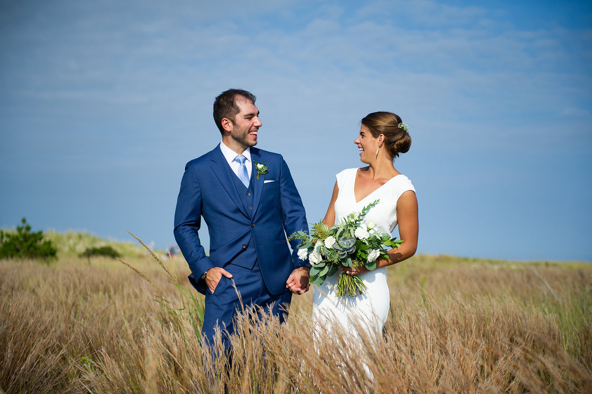 bride and groom in barnegat light nj