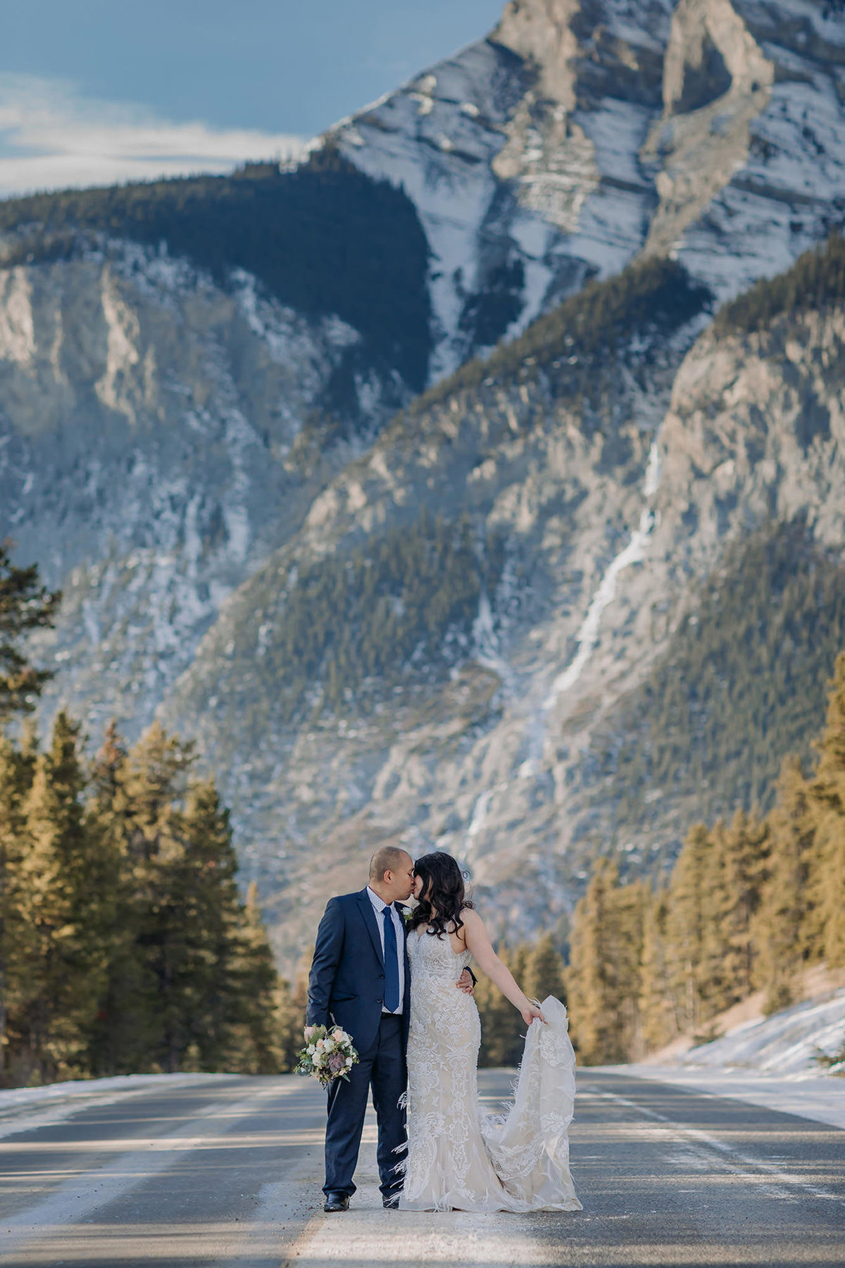 banff winter elopement cascade mountain in the road