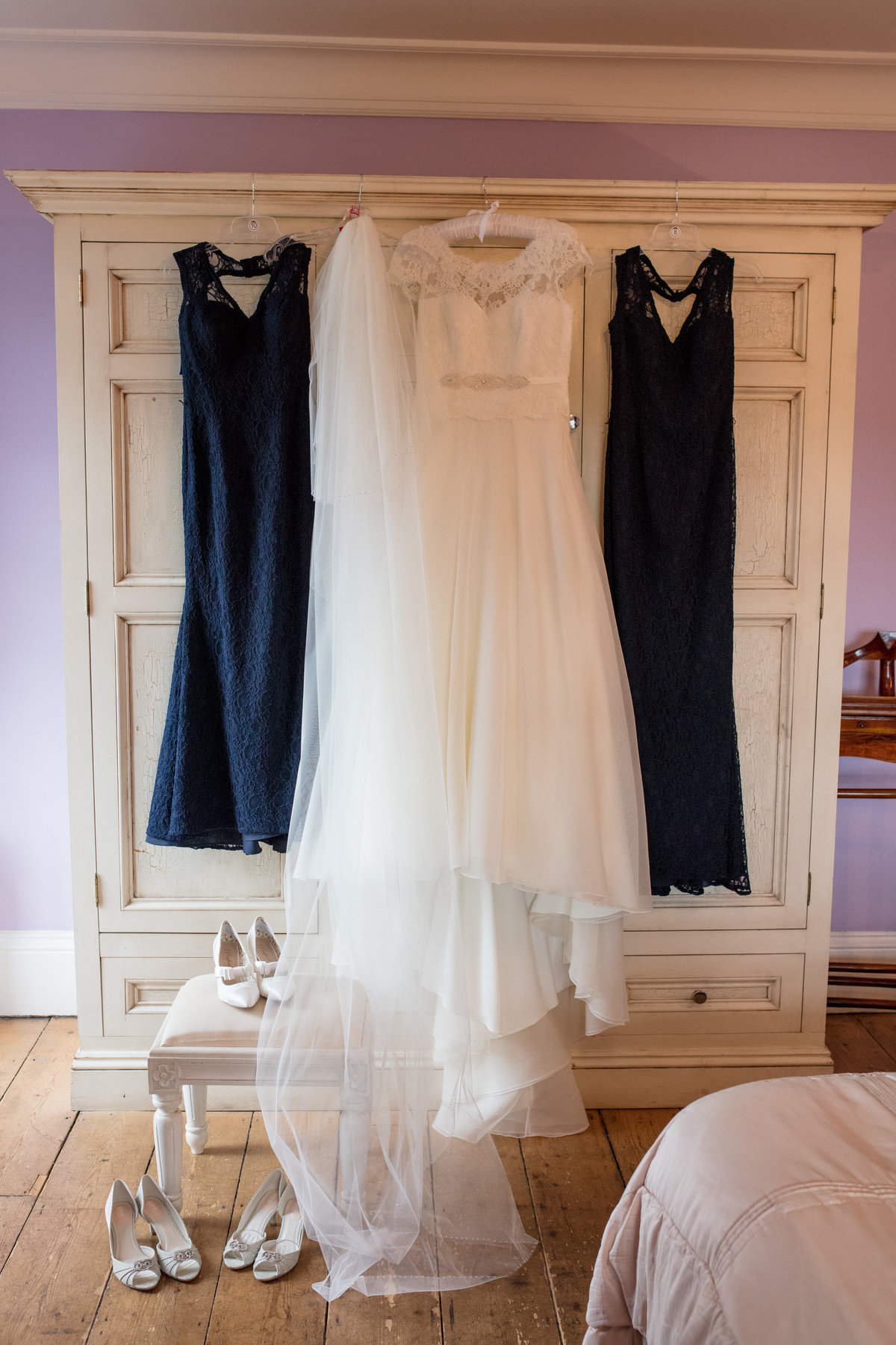 bridal dresses hanging up