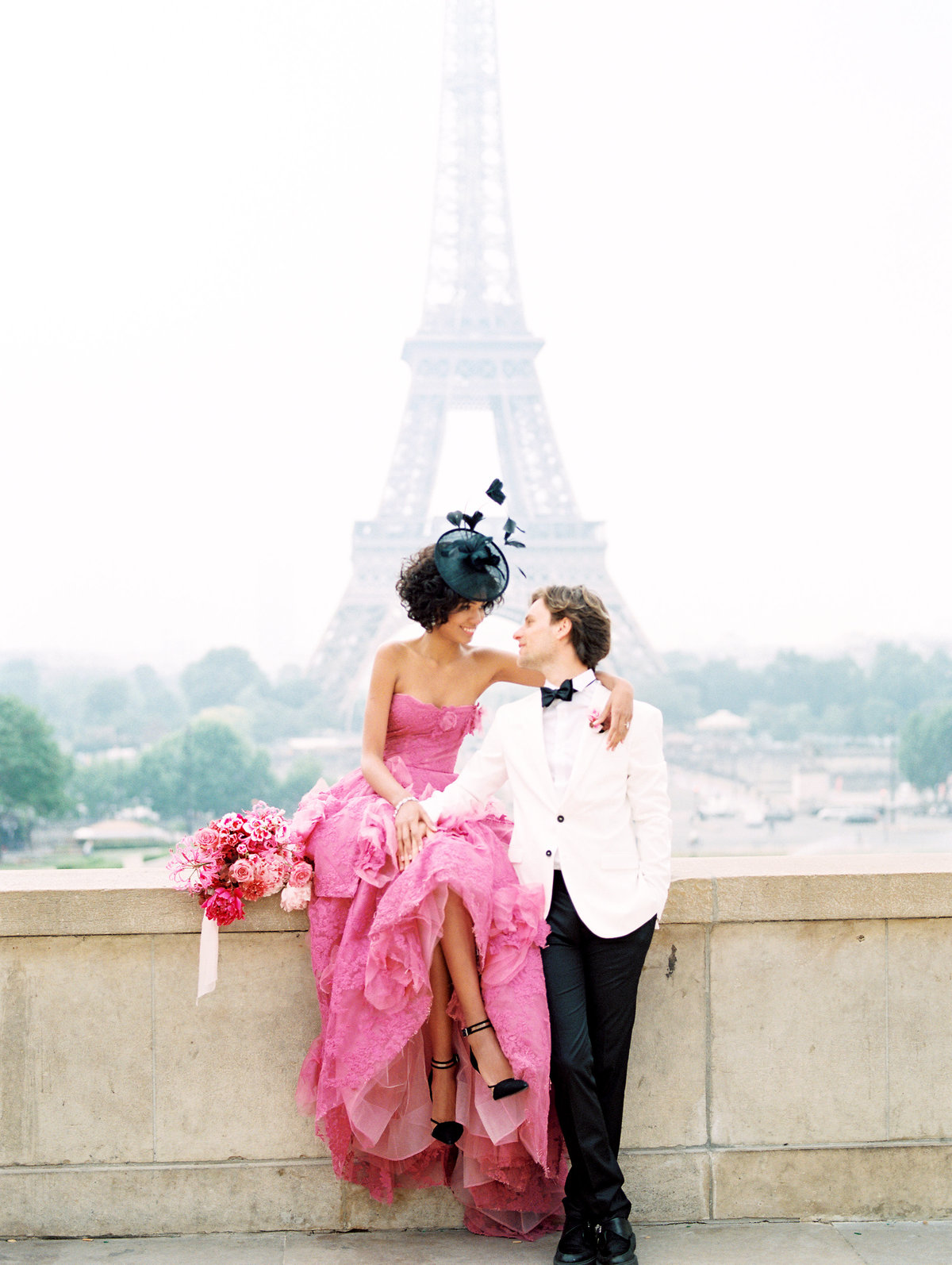 Elopement in Paris France - Marchesa Gown with Pink florals