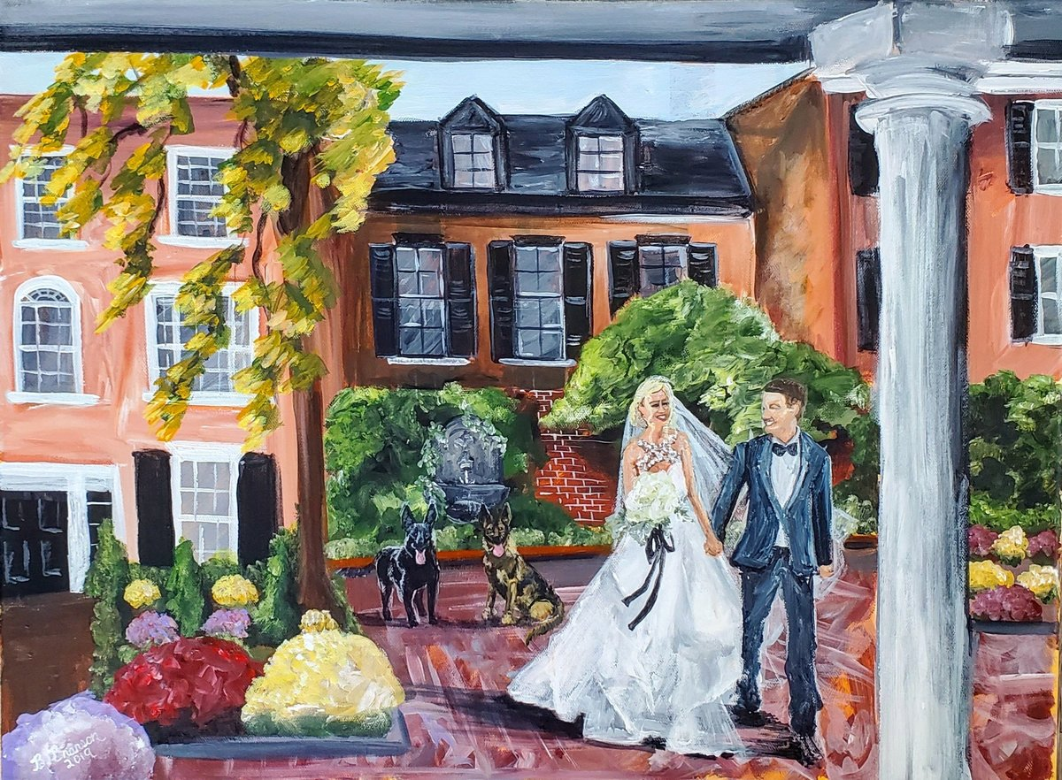 Live painting of a bride and groom and their two dogs at the Decatur House in Washington DC