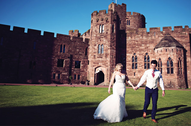 In front of Peckforton Castle at Sunset