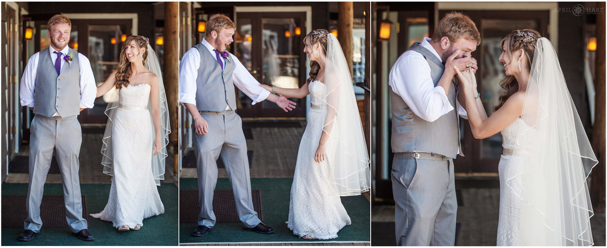 A  photo collage of a bride walking up to her groom for their first look at St. Mary's Lodge in Estes Park, Colorado