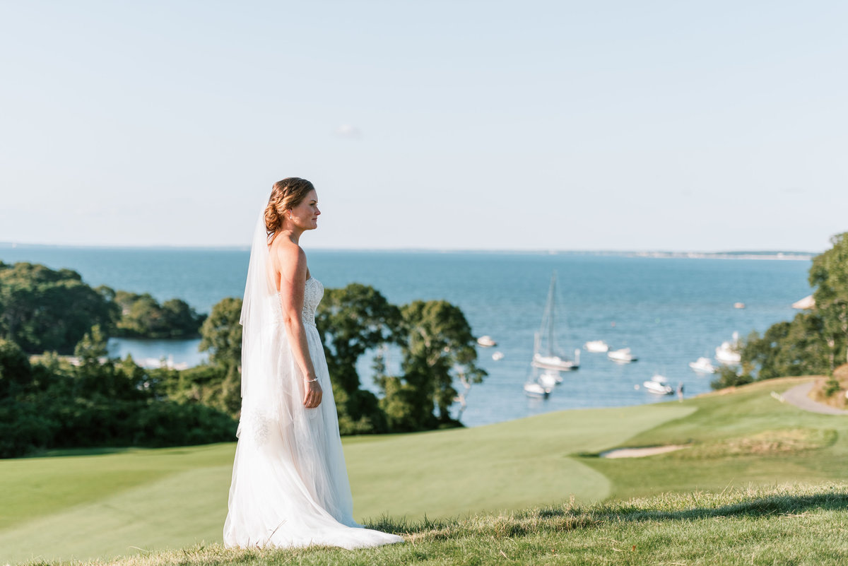 Bride with water view in background