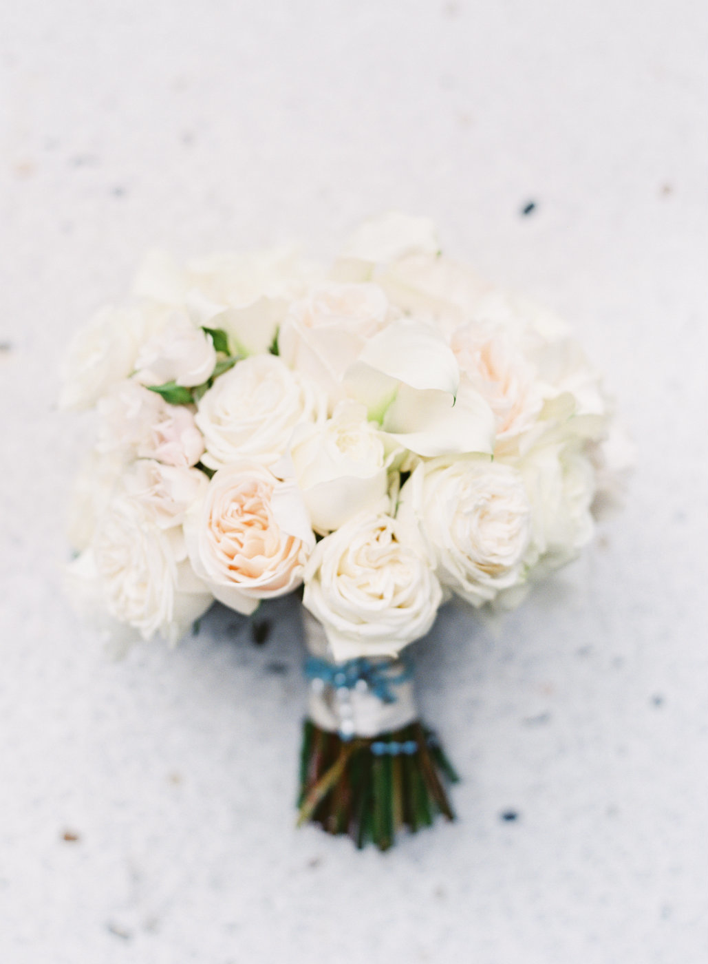 White rose and calla bouquet