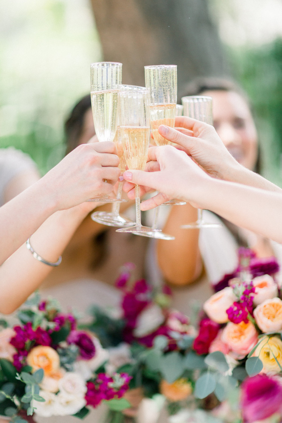 wedding party champagne toast at Maravilla Gardens wedding