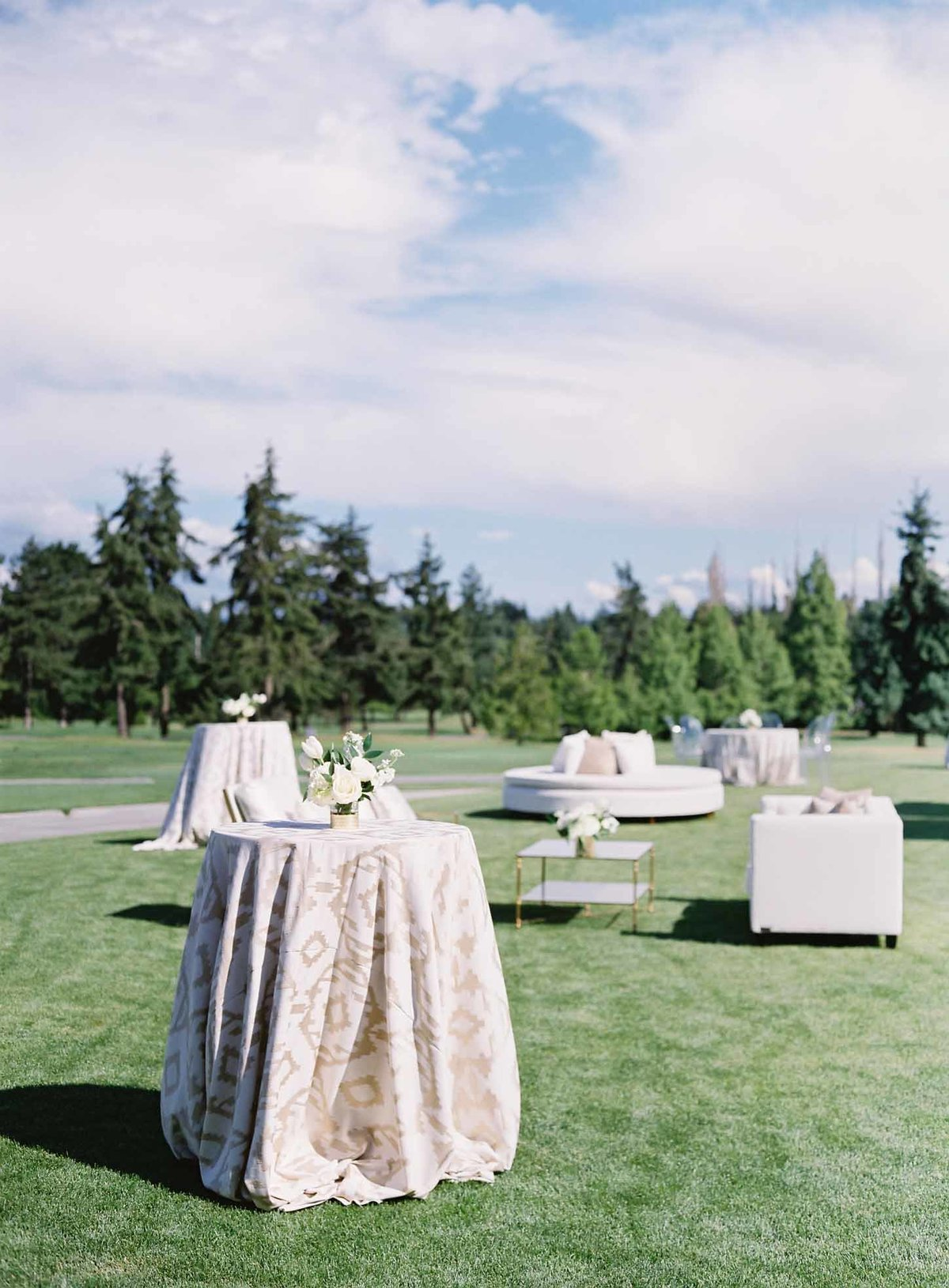Beautiful summer afternoon outdoor cocktail reception