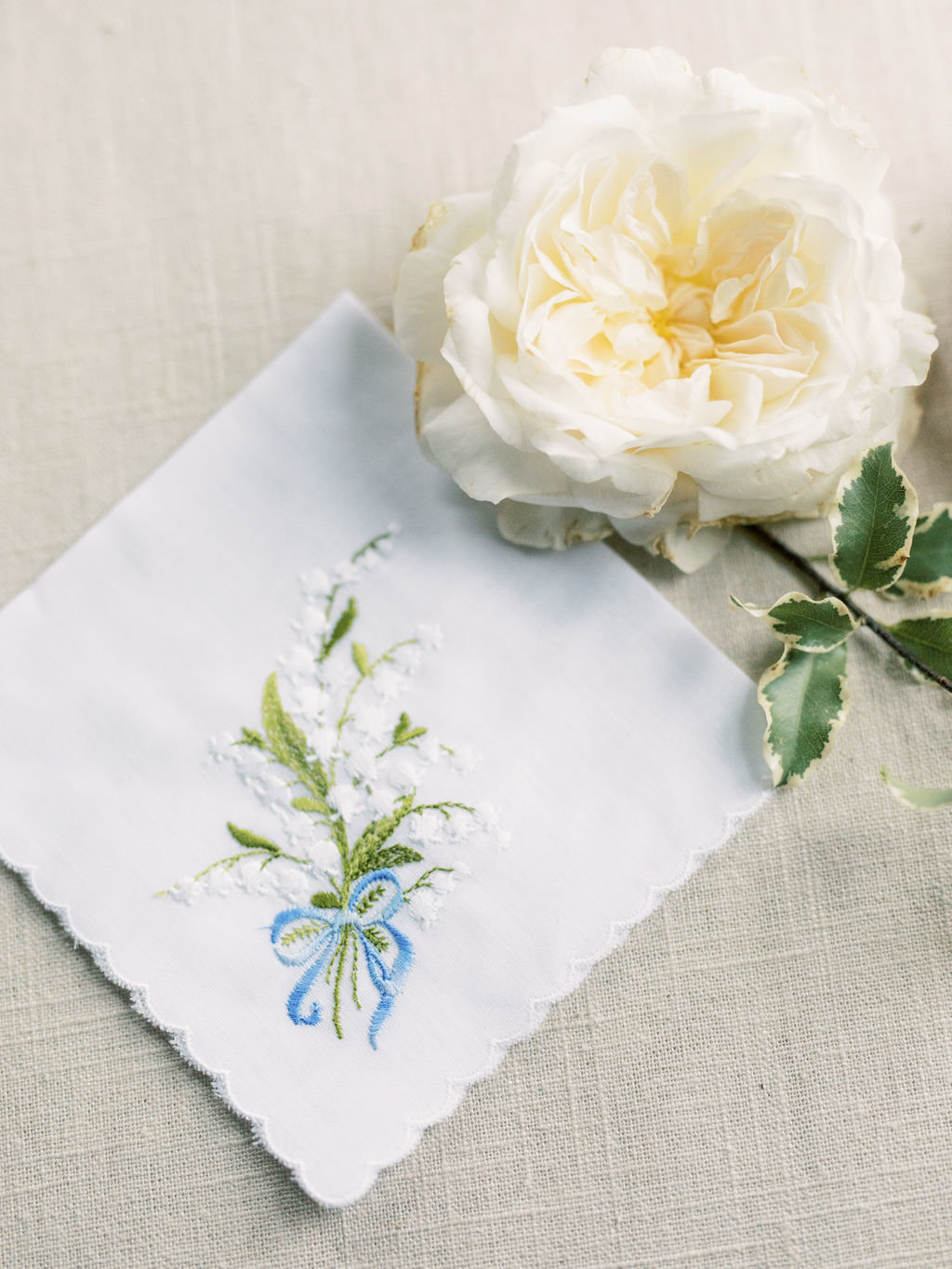 wedding something blue handkerchief