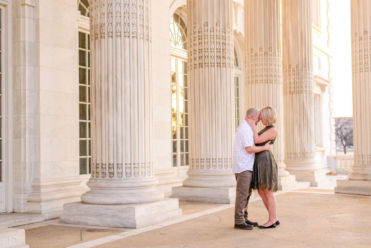 Couple in love with a sunrise engagement session in washington dc