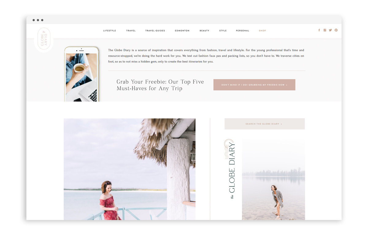 The Globe Diary by Leigh Dorkin - Custom Brand and Showit Web Design by With Grace and Gold - Showit Theme, Showit Themes, Showit Template, Showit Templates, Showit Design, Showit Designer - 1