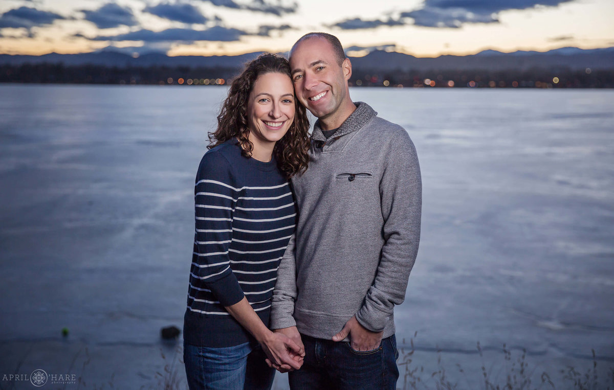 Sloans Lake Engagement Photos during Winter in Denver Colorado