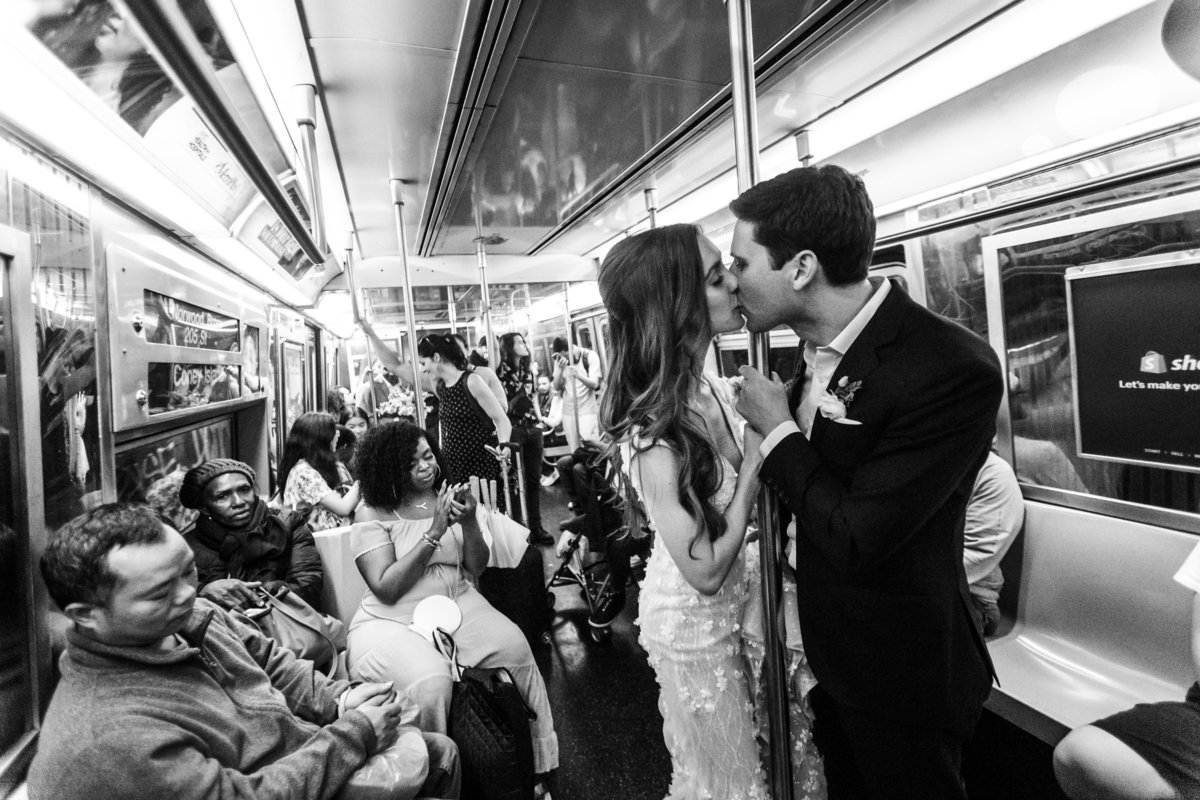 Bride and Groom in NYC subway