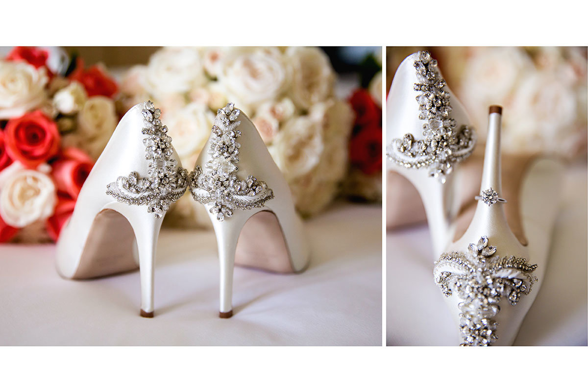 ring on wedding shoes