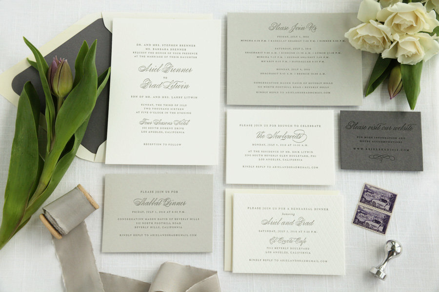 Classic Letterpress Beverly Hills Wedding Invitation