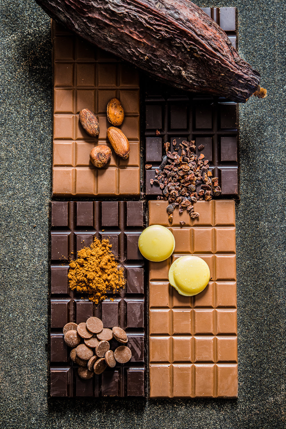 Chocolate with cocoa beans, cocoa butter and cocoa