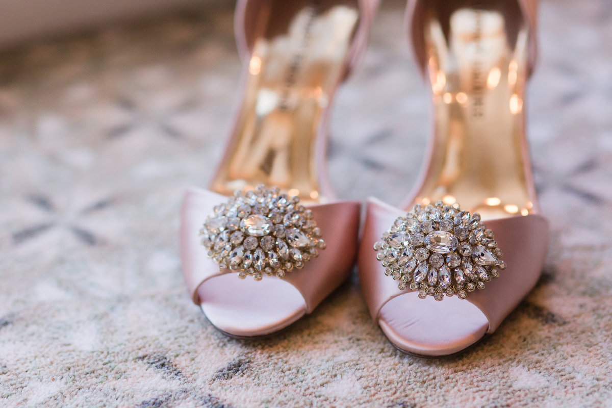 A bride's shoes at the Dominion Club in Richmond