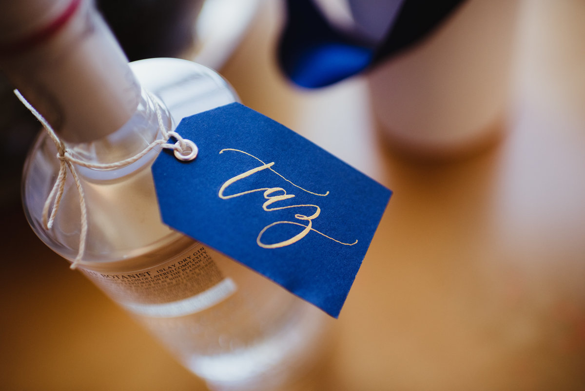 calligraphy tag, custom calligraphy, gin