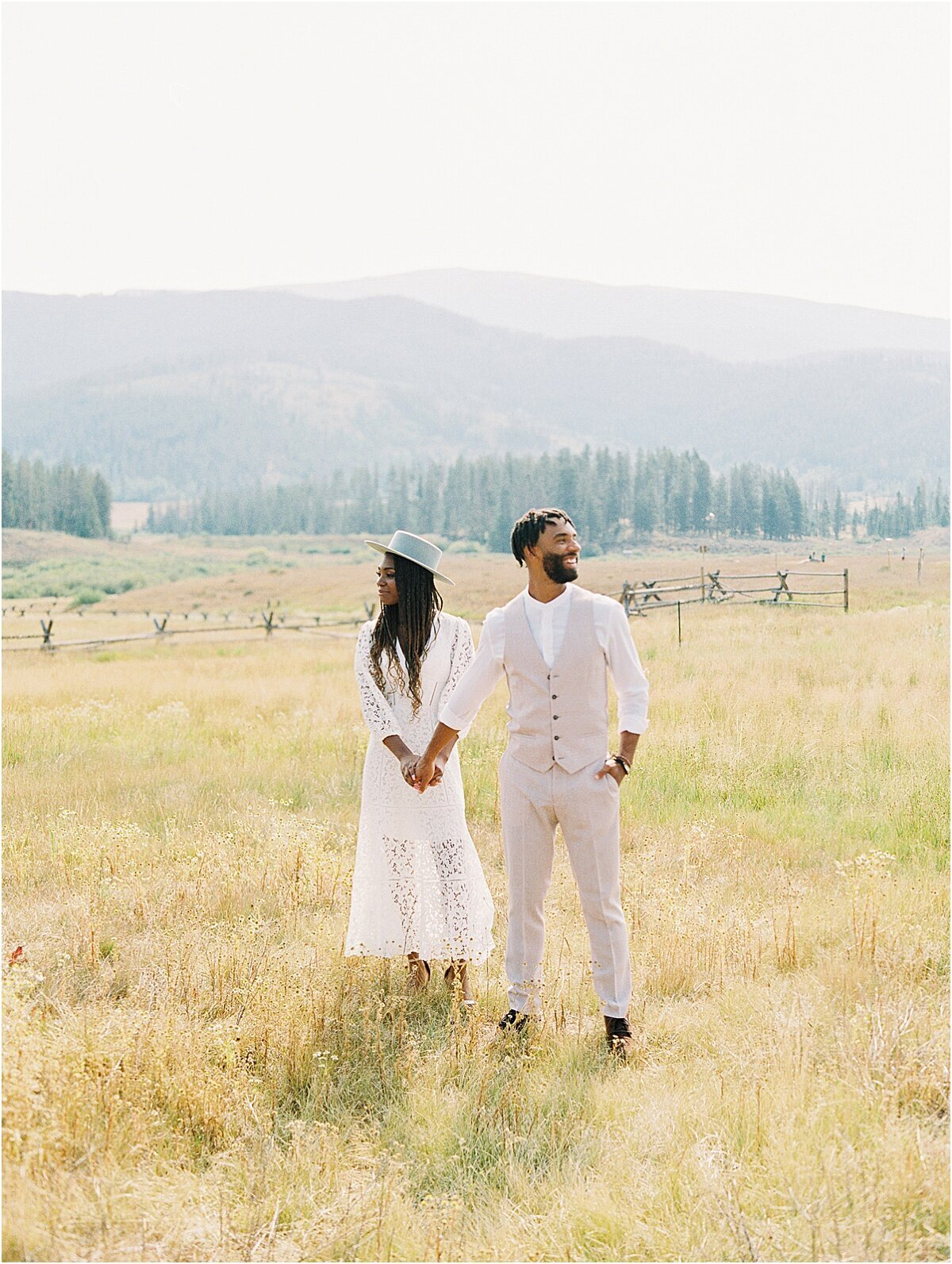 Diverse colorado couple wedding